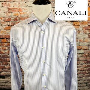 Canali Lavender Blue Pinstriped Italy Dress Shirt